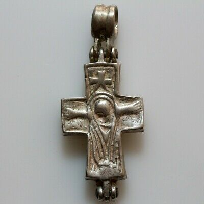 Very Rare-Wearable Byzantine Silver Encolpion Cross Pendant Ca 700 Ad