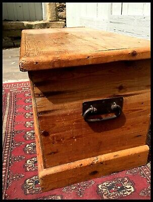 Antique Victorian Vintage Old Pine Chest, Wooden Trunk Characterful Blanket Box