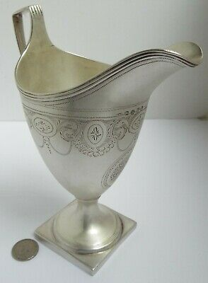 Fine Large English Antique 18Th Century Georgian 1798 Sterling Silver Cream Jug