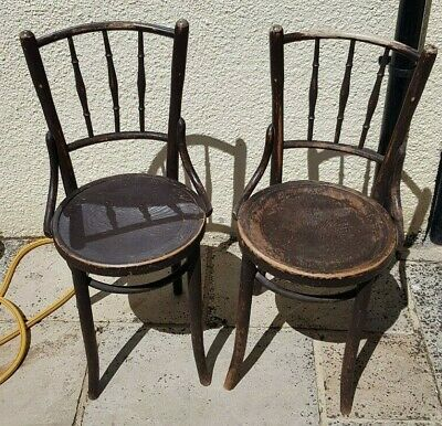 Antique Pair of French Bentwood Chairs Carved Seats Dining Kitchen Bistro Cafe