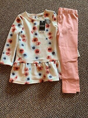 Floral Poppy Tunic And Leggings Set George Asda Bnwt Pink Blue 2-3 Years