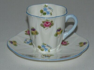 Vintage Shelley England Bone China Dainty Rose Demitasse Teacup & Saucer Set