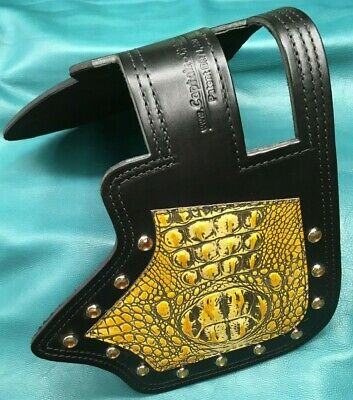 Indian Motorcycle Heat Shield Captain Itch Yellow Alligator and crystals IC13