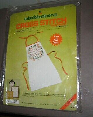 "1975 Columbia-minerva Cross Stitch Sampler Apron 20""x44"" Bee Designs Sealed"