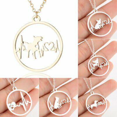 Fashion Gold Silver Stainless Steel Hollow ECG Pendant Necklace Women Jewelry
