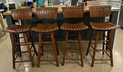 4 Vintage Wood & Iron  Chairs Slat Back & Seat Counter Height Mid-Century Modern