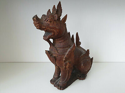Large Chinese / Tibetan antique carved wooden temple Foo dog / Fu / Dragon, N5