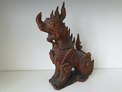 Large Chinese / Tibetan antique carved wooden temple Foo dog / Fu / Dragon, N4