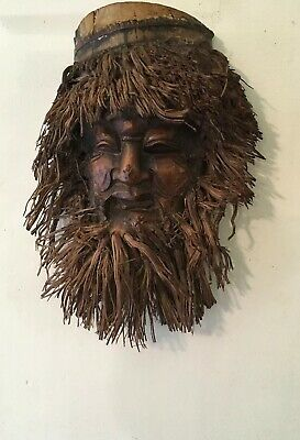 "10"" Vintage Old Man Of The Mountains Chinese Bamboo Mask"
