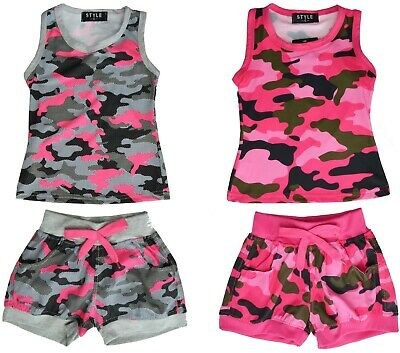 Girls Vest & Shorts 2 Piece Set Army Camouflage Print Ages 2-12 Years