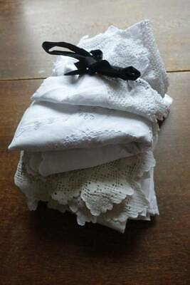 Bundle 14 items vintage white linen lace & embroider tablecloths toppers re-sale