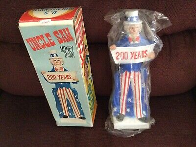 Vintage 1974 Uncle Sam Plastic 200 Hundred Year Bank With Box