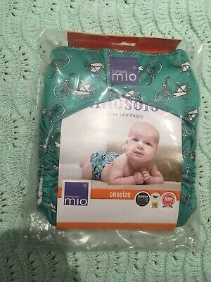 Bambino Mio Miosolo BNIP Green Bicycle Reusable Nappy Cloth Bum Fluff New Bike