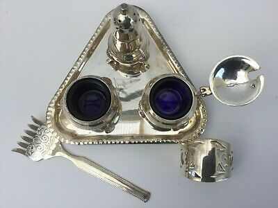 Very Decorative Epns Cruet Set, WithNapkin Ring And Mystery Fork