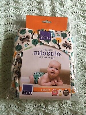 Bambino Mio Miosolo BNIP Raccoon Reusable Nappy Cloth Bum Fluff New Woodland