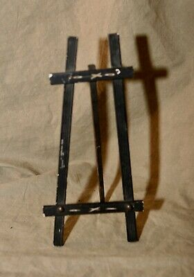 "Antique Painted Wood Arts & Crafts Mission Style 10"" Easel Carved Embellishments"