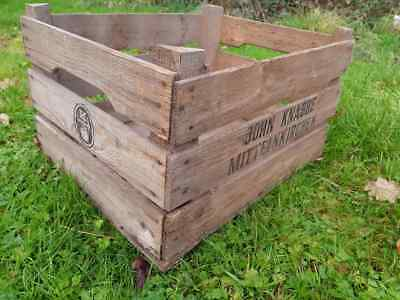 Large Rustic Wooden 3 Slatted Fruit Apple Storage Welly Wine Crate Vintage Box