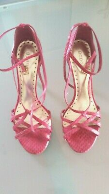 b613d8b973 BCBG GIRLS Hot Pink Strappy Heels Sandals FAUX SNAKESKIN Embossed Leather ~  Sz 7