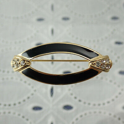 Vintage Trifari Black Enamel Oval Open Center Gold Tone Rhinestone Pin Brooch