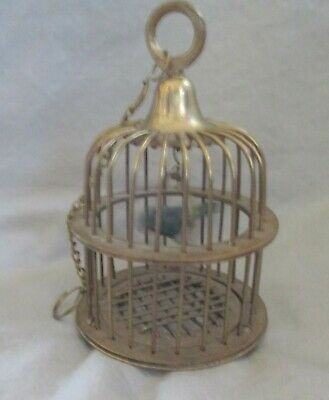 Vintage Solid Brass Small Hanging Birdcage With Green Metal Bird