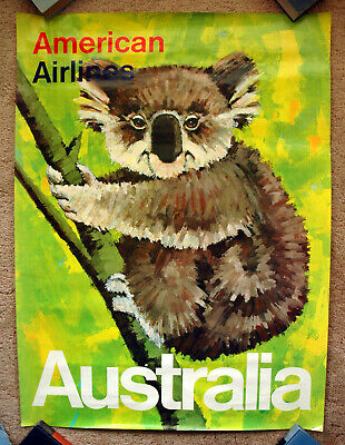 Vintage Original 1970s AUSTRALIA AMERICAN AIRLINES Travel Poster Train air art