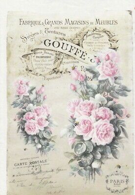 Rice Paper for Decoupage Decopatch Scrapbook Craft Two roses card pink