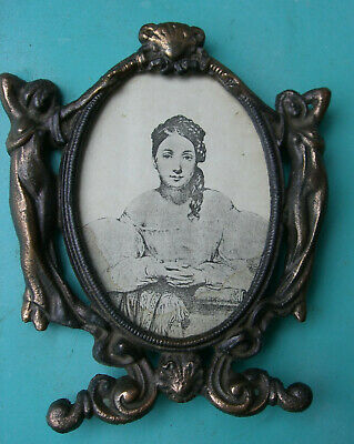 "Vintage /  Antique Cast Iron(?) or Brass Ornate Picture Frame 7"" x 6"""