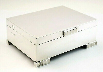 c1954 STYLISH AND DECORATIVE SOLID STERLING SILVER CIGARETTE CIGAR JEWELLERY BOX