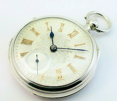 c1892, FINEST ANTIQUE 19thC VICTORIAN SOLID SILVER AND GOLD FUSEE POCKET WATCH
