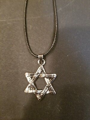 Silver Etched Jewish Star On A Leather Adjustable Cord Necklace