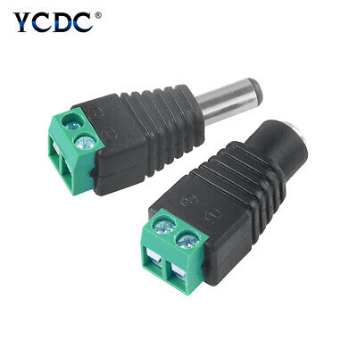 12V Male + Female DC Wire Connector Power Plug Adapter 2.1x5.5mm For CCTV DB6E