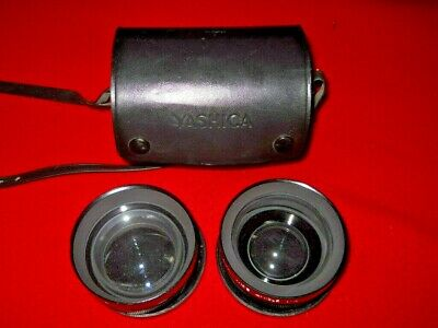 Yashica Lens Conversion Set. Yashikor AUX Wide Angle 1:4 & Telephoto in Case