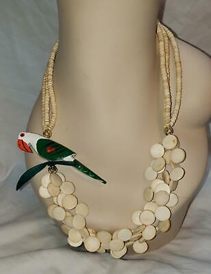 """Vintage Tropical Hand Painted Wood Parrot Bird Pendant Bead Necklace 24"""""""