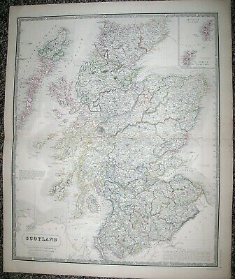 ANTIQUE MAP SCOTLAND; A K Johnston, 1843 The National Atlas, ORIGINAL NOT Repro