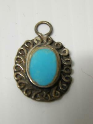 ANTIQUE VINTAGE old pawn NAVAJO INDIAN STERLING SILVER TURQUOISE PENDANT PETITE