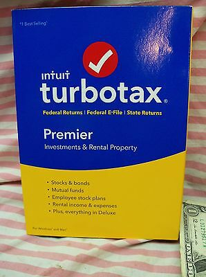 2016 New Intuit Turbotax Premier Investments & Rental Property Federal State USA