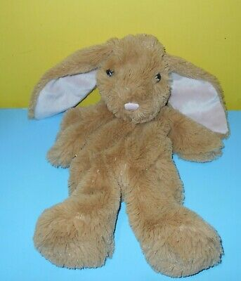 """15"""" BABW Build a Bear Soft Brown Shimmer Bunny Rabbit Pink Nose & Ears Unstuffed"""