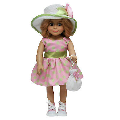 18 In Doll Clothes Outfit Fits American Girl, Pink & Green Dress, Hat, Hand Bag