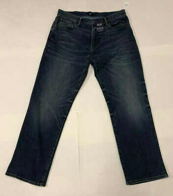 Mens Gap 1969 Thermolite Jeans Standard Fit Dark Blue Faded Stretch Jeans 34 32