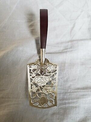 Midcentury Modern Taxco Sterling Silver Cake Server Wood Handle Pie Pastry FL