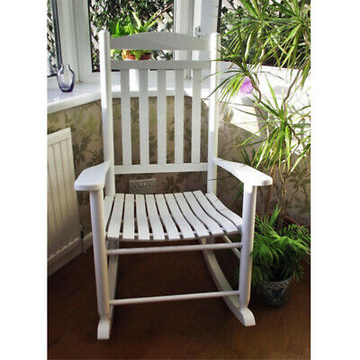 White Wooden Rocking Chair with Curved Seat Modern Lounge Dining Furniture Wood