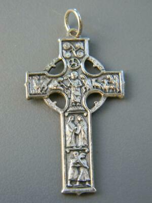 Vintage 925 Sterling Silver 8th Century European Abbey Irish Celtic Style Cross