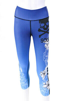 b13a91280b493 Soul Cycle Womens Athletic Cropped Yoga Pants Blue Black Floral Size Small