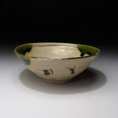 XM3: Vintage Japanese Tea bowl of Oribe ware by Famous Potter, Chikusen Ichikawa