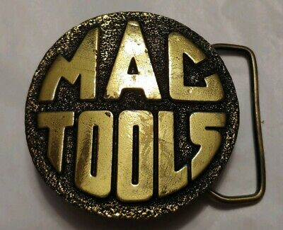 "vtg GREAT AMERICAN CHICAGO Buckle co MAC TOOLS brass belt buckle 2 3/8"" F"