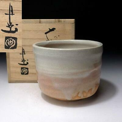 TJ8: Japanese Pottery Tea Bowl, Hagi ware by Famous Potter, Keizan Udagawa