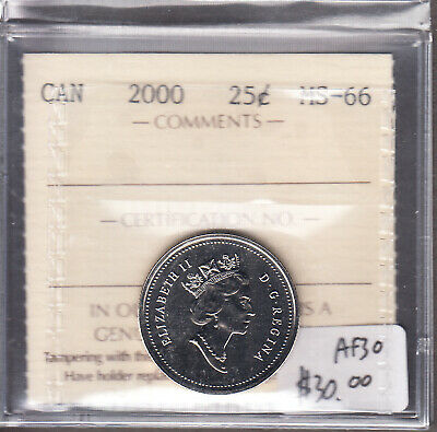 2000 Canada - 25 Cents ICCS Graded - MS-66 - Cross Country - AF30 -