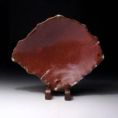 XK1: Japanese Pottery Tea Plate, Seto Ware of Samurai Red Glaze, 11 inches