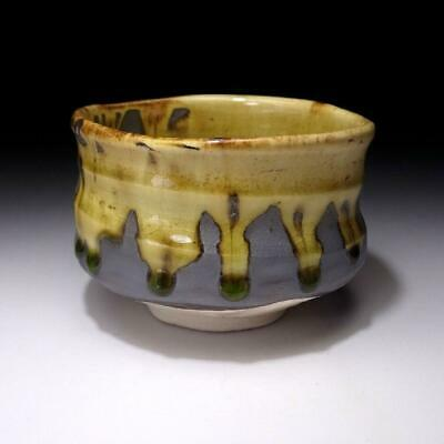 VG3 Japanese Tea Bowl, Seto Ware, Famous potter, Eichi Kato, Yellow & Dark brown