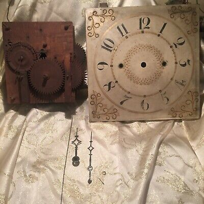 Antique American Wooden Works Shelf Clock Movement & Hand Painted Dial 1820s